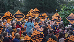 © Licensed to London News Pictures. 29/11/2019. Sheffield , UK. Jo Swinson, Leader of the Liberal Democrats , speaks to activists during election campaigning, as she will discuss the party's £50 billion Regional Rebalancing Fund  investment in regions outside of London and the South East. Photo credit: Ioannis Alexopoulos /LNP