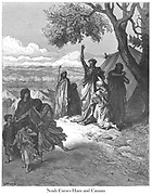 Noah Cursing Canaan or Noah Curses Ham and Canaan Genesis 9:24-25 From the book 'Bible Gallery' Illustrated by Gustave Dore with Memoir of Doré and Descriptive Letter-press by Talbot W. Chambers D.D. Published by Cassell & Company Limited in London and simultaneously by Mame in Tours, France in 1866