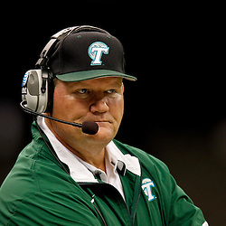 November 10, 2011; New Orleans, LA, USA; Tulane Green Wave interim head coach Mark Hutson watches from the sideline during the second quarter against the Houston Cougars at the Mercedes-Benz Superdome.  Mandatory Credit: Derick E. Hingle-US PRESSWIRE