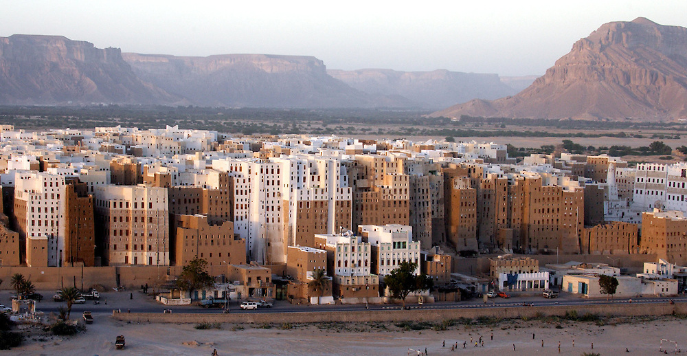 Ancient city of Shibam declared a World Heritage Site by UNESCO in 1982. Dubbed the Manhattan of the desert, Shibam is famous for its skyscrapers of clay-and-straw bricks that often reach up to eight floors high. Old Shibam, protected by UNESCO since 1982.<br /> Yemen, January 2006.<br /> Photo Antonietta Baldassarre INSIDE