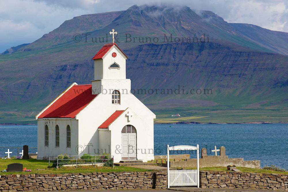 Islande, Fjord de l Ouest, eglise de Innriholmur aux environs de Akranes // Iceland, Innriholmur church, around Akranes