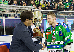Matjaz Rakovec, president of HZS and Ales Music of Olimpija after they became Slovenian National Champion 2016 after winning during ice hockey match between HDD Telemach Olimpija and HDD SIJ Acroni Jesenice in Final of Slovenian League 2015/16, on April 11, 2016 in Hala Tivoli, Ljubljana, Slovenia. Photo by Vid Ponikvar / Sportida