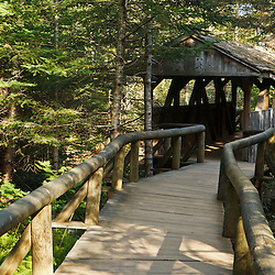 The covered bridge at Lost River Gorge in New Hampshire's White Mountains. North Woodstock.