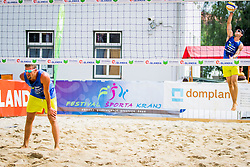Jernej Potocnik of Debitel and Nejc Zemljak of Debitel during Qlandia Beach Challenge 2015 and Beach Volleyball Slovenian National Championship 2015, on July 25, 2015 in Kranj, Slovenia. Photo by Ziga Zupan / Sportida