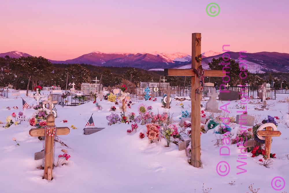 Truchas graveyard and the Sangre de Cristo Mountains with fresh snow, New Mexico, © 2008 David A. Ponton