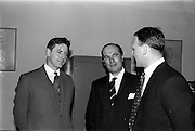 10/05/1965<br /> 05/10/1965<br /> 10 May 1965<br /> (Left to right) Mr. John Costello, architect, Mr. A. Kennedy Kirsch, chairman and managing director of M.E.P.C. (Ireland) Ltd., and Mr. G. C. Crampton, managing director of G. & T. Crampton Ltd., chat about the contract for the building of the Stillorgan Shopping Centre.