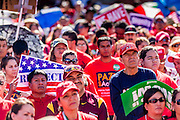 05 OCTOBER 2013 - PHOENIX, ARIZONA: People listen to speakers at an immigration reform rally in Phoenix. More than 1,000 people marched through downtown Phoenix Saturday to demonstrate for the DREAM Act and immigration reform. It was a part of the National Day of Dignity and Respect organized by the Action Network.   PHOTO BY JACK KURTZ