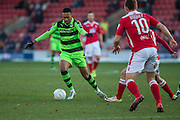 Forest Green Rovers Keanu Marsh-Brown(7) on the ball during the Vanarama National League match between Wrexham FC and Forest Green Rovers at the Racecourse Ground, Wrexham, United Kingdom on 26 November 2016. Photo by Shane Healey.