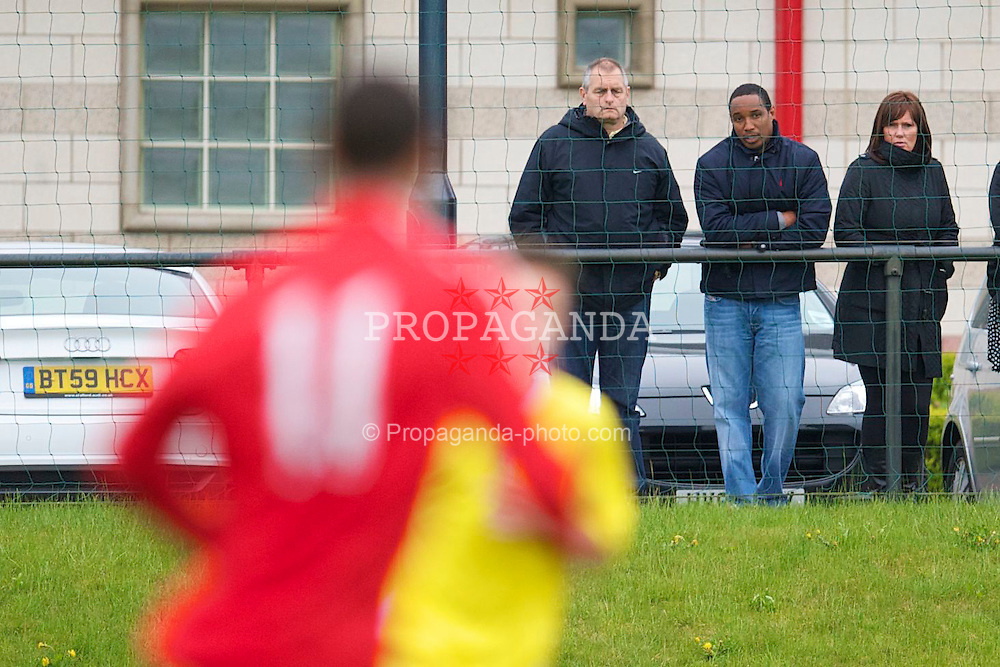 LIVERPOOL, ENGLAND - Thursday, April 29, 2010: Former Liverpool player Paul Ince watches his son Thomas Ince (#11) in action against Leeds United during the FA Academy Under-18's League at the Academy. (Photo by David Rawcliffe/Propaganda)