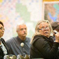 """Pamela Schreiner addresses Environmental Protection Agency officials after a Homestake Mine Site at the Cibola County Complex in Grants Tuesday. """"This is not just about the miners,"""" Schreiner said. """"You have to find a way to get involved with this community."""""""