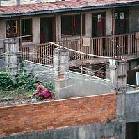 Crowded housing in downtown Kathmandu, Nepal.