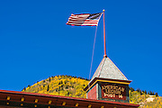 American Legion Post and fall color, Silverton, Colorado USA