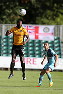 Frank Nouble of Newport County heads the ball. EFL Skybet football league two match, Newport county v Wycombe Wanderers at Rodney Parade in Newport, South Wales on Saturday 9th September 2017.<br /> pic by Andrew Orchard, Andrew Orchard sports photography.