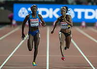 Athletics - 2017 IAAF London World Athletics Championships - Day Three, Evening Session<br /> <br /> Women's 100m Final<br /> <br /> Tori Bowie (United States) beats Elaine Thompson (Jamaica) to the line at the London Stadium<br /> <br /> COLORSPORT/DANIEL BEARHAM