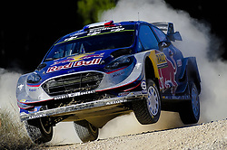 October 6, 2017 - Salou, Catalonia, Spain - The french driver, Sbastien Ogier and his co-driver Julien Ingrassia of M-Sport team jumping with his Ford Fiesta WRC during the first day of Rally Racc Catalunya Costa Daurada, on October 6, 2017 in Salou, Spain. (Credit Image: © Joan Cros/NurPhoto via ZUMA Press)