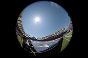 Members of the United States military hold a giant American flag during the playing of the National Anthem in this general view photograph taken before the Los Angeles Chargers 2018 regular season week 1 NFL football game against the Kansas City Chiefs on Sunday, Sept. 9, 2018 in Carson, Calif. The Chiefs won the game 38-28. (©Paul Anthony Spinelli)