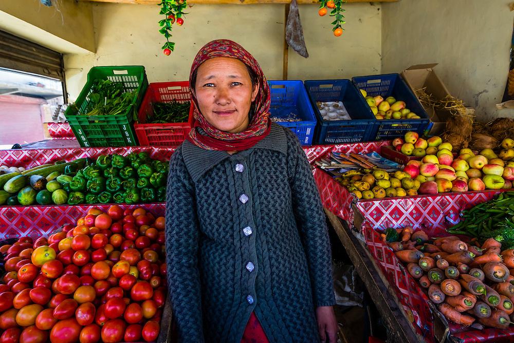 Vegetable stand, Karu, Ladakh, Jammu and Kashmir State, India.