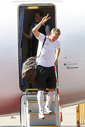 15.07.2014, Flughafen, Muenchen, GER, FIFA WM, Empfang der Weltmeister in Deutschland, Finale, im Bild Bastian Schweinsteiger #7 (Deutschland) kommt aus der Maschiene // during Celebration of Team Germany for Champion of the FIFA Worldcup Brazil 2014 at the Flughafen in Muenchen, Germany on 2014/07/15. EXPA Pictures © 2014, PhotoCredit: EXPA/ Eibner-Pressefoto/ Kolbert  *****ATTENTION - OUT of GER*****