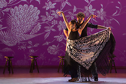 "© Licensed to London News Pictures. 20/02/2015. London, England. Artistic director Rafaela Carrasco performing with David Coria. Ballet Flamenco de Andalucía perform ""Las Cuatro Esquinas"" from their production ""Images: 20 Years"" during the Flamenco Festival London 2015 at Sadler's Wells Theatre. The show runs from 20-21 February with the festival running from 16 February to 1 March 2015.  Photo credit: Bettina Strenske/LNP"