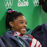 Gymnastics - Olympics: Day 4  Simone Biles of the United States during the Artistic Gymnastics Women's Team Final at the Rio Olympic Arena on August 9, 2016 in Rio de Janeiro, Brazil. (Photo by Tim Clayton/Corbis via Getty Images)