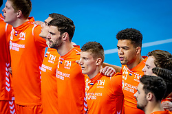 The Dutch handball players (L-R) Jorn Smits, Jeffrey Boomhouwer, Ephrahim Jerry during the European Championship qualifying match against Slovenia on January 6, 2020 in Topsportcentrum Almere
