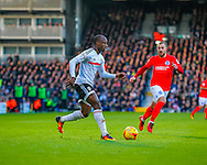 Sone Aluko of Fulham and Jiri Skalak of Brighton and Hove Albion during the Sky Bet Championship match at Craven Cottage, London<br /> Picture by Richard Brooks/Focus Images Ltd 07947656233<br /> 02/01/2017