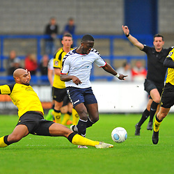 TELFORD COPYRIGHT MIKE SHERIDAN 13/10/2018 - Daniel Udoh of AFC Telford is tackled by Courtney Meppen-Walters during the Vanarama National League North fixture between AFC Telford United and Chorley