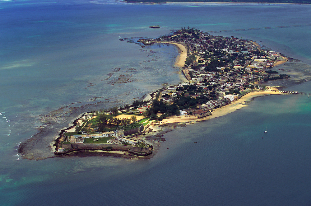 Aerial view of Ilha de Mozambique. The island has about two and a half kilometers lenght and six hundred meters wide. The northern part is where the portuguese colonial buildings are and it's called Stone City. The central and south part of the island is the Macuti Town, the area where most of the people lives.