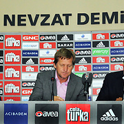 Besiktas Istanbul's soccer club new coach German Bernd Schuster (C) and Besiktas' president Yildirim Demiroren (R) attend a signing ceremony in Istanbul, Turkey on 16 June 2010. Schuster signed a two years contract with the Turkish soccer club. Photo by TURKPIX