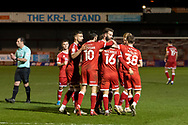 GOAL 1-1 Crawley Town celebrate their late equaliser in the EFL Sky Bet League 2 match between Crawley Town and Walsall at The People's Pension Stadium, Crawley, England on 16 March 2021.
