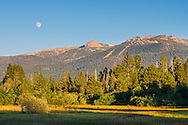 Moon over Freel Peak in the Carson Range Mountains, near Lake Tahoe, California