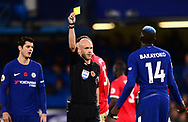 Tiemoue Bakayoko of Chelsea is given a yellow card by referee Anthony Taylor . Premier league match, Chelsea v Manchester United at Stamford Bridge in London on Sunday 5th November 2017.<br /> pic by Andrew Orchard sports photography.