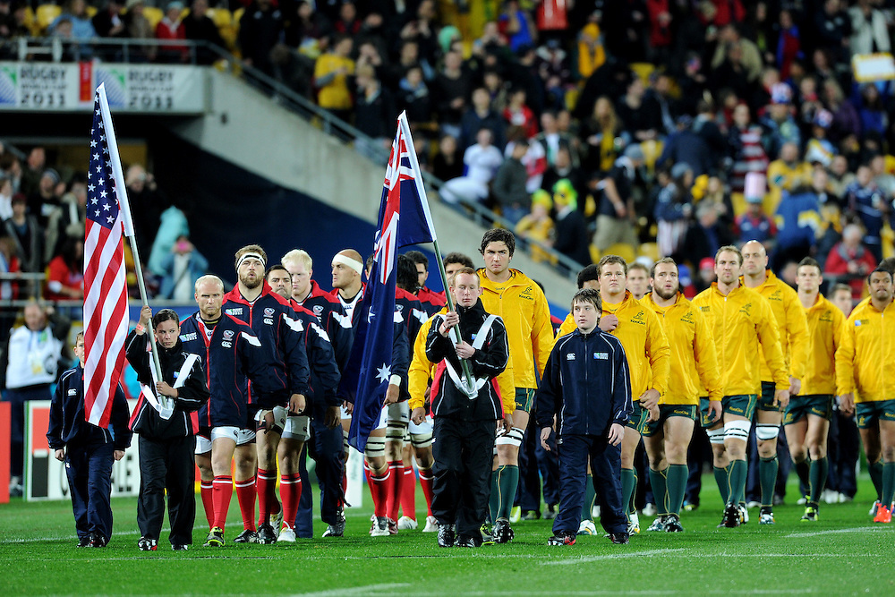 Teams walking onto the field during the Pool C, Australia v USA match at the IRB Rugby World Cup 2011. Wellington Regional Stadium, Wellington. Friday 23 September 2011...Photo: Mark Tantrum/photosport.co.nz..