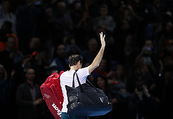 2017?11?18?.    ?????1???——ATP????????????????.       11?18????????????.       ???????????ATP?????????????????????????2?1???????????????.       ????????.(SP) BRITAIN-LONDON-TENNIS-ATP FINALS-GOFFIN VS FEDERER.(171118) -- LONDON, Nov. 18, 2017  Roger Federer of Switzerland leaves the court after the singles semi-final match against David Goffin of Belgium during the Nitto ATP World Tour Finals at O2 Arena in London, Britain on Nov. 18, 2017. David Goffin won 2-1. (Credit Image: © Han Yan/Xinhua via ZUMA Wire)