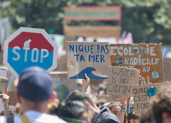 May 24, 2019 - Nantes, France - Friday, May 24, 2019, on the occasion of the Global Strike for Future/Climate, the Nantes movement ''Youth for Climate'' and the collective of 24 associations ''Emergency Climate Nantes! Organized a march and a die-in on the streets of Nantes to denounce the climate emergency and the inaction of the government. The event brought together nearly 5,000 people including many young people. (Credit Image: © Estelle Ruiz/NurPhoto via ZUMA Press)