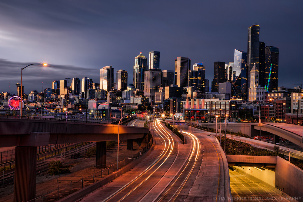 Downtown Seattle Skyline & Route 99 w/Overcast