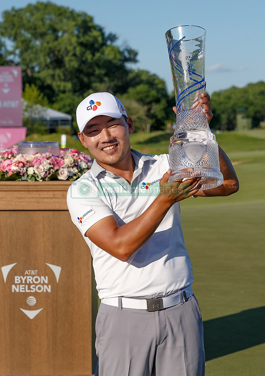 May 12, 2019 - Dallas, TX, U.S. - DALLAS, TX - MAY 12: Sung Kang holds the winner's trophy after winning the AT&T Byron Nelson on May 12, 2019 at Trinity Forest Golf Club in Dallas, TX. (Photo by Andrew Dieb/Icon Sportswire) (Credit Image: © Andrew Dieb/Icon SMI via ZUMA Press)