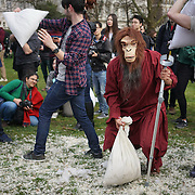 London,England,UK, 2nd SApril 2016 : The most boring Pillow Fight of the year by Flash mobs International Pillow Fight Day 2016 at Green Park in London. Photo by See Li