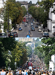 © Licensed to London News Pictures. 30/08/2020. London, UK. Comparison picture showing Ladbroke Grove during virtual carnival today (TOP) and the same scene in 2017 with carnival in full flow (BOTTOM). This year Carnival is being held virtually this year due to COVID-19 restrictions. Members of the public have been warned against congregating in the Notting Hill Area to celebrate the event. Photo credit: Ben Cawthra/LNP