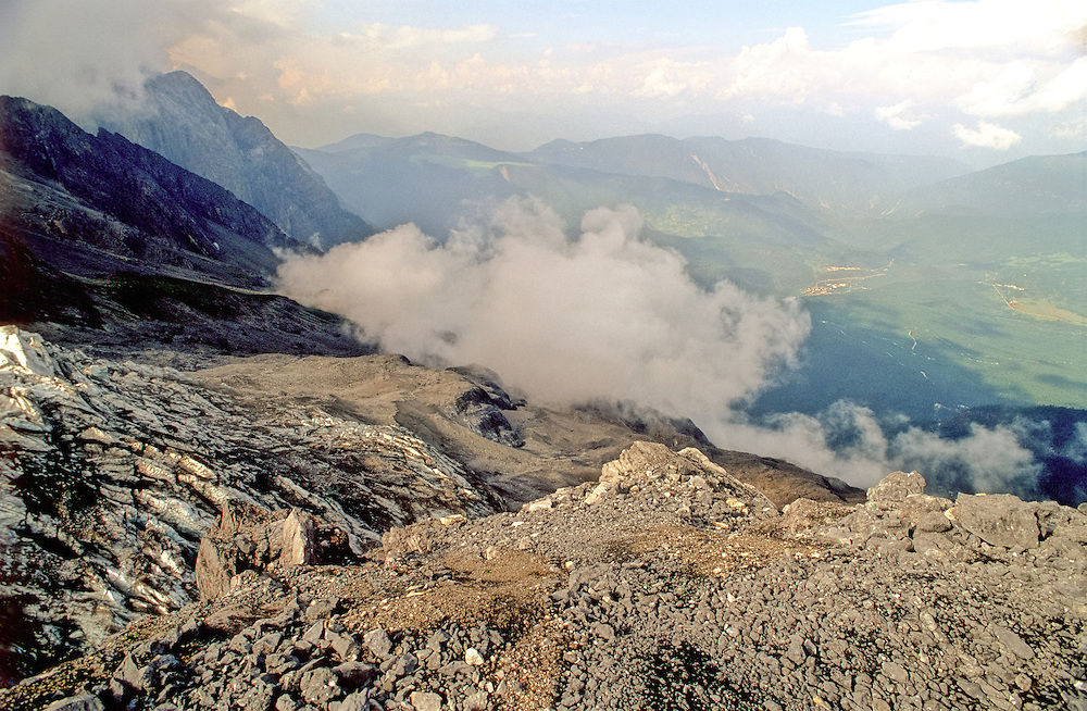 Clouds and mist form at the cold summit of Yulong Xueshan or Snow Mountain in south west China's Yunnan Province.