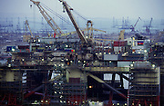 Baku, Azerbaijan, April 1999.&#xD;Shelf Five semi submersible oil rig in port for upgrade; it is illuminated to allow work to continue round the clock.&#xD;&#xD;&#xD;&#xD;&#xD;&#xD;&#xD;&#xD;&#xD;&#xD;&#xD;<br />