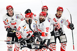 Players of HDD SIJ Acroni Jesenice celebrate during ice hockey match between HK SZ Olimpija and HDD SIJ Acroni Jesenice in first game of Final at Slovenian National League, on April 30, 2020 in Hala Tivoli, Ljubljana, Slovenia. Photo by Matic Klansek Velej / Sportida