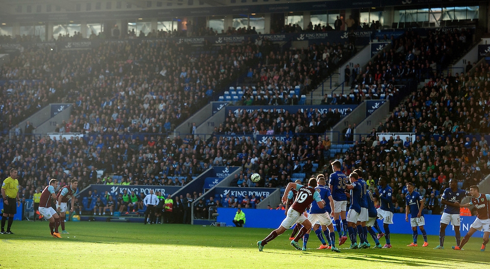 Burnley's Ross Wallace scores his sides equalising goal to make the score 2-2 from this free kick in the sixth minute of added time<br /> <br /> Photographer Stephen White/CameraSport<br /> <br /> Football - Barclays Premiership - Leicester City v Burnley - Saturday 04th October 2014 - King Power Stadium - Leicester<br /> <br /> © CameraSport - 43 Linden Ave. Countesthorpe. Leicester. England. LE8 5PG - Tel: +44 (0) 116 277 4147 - admin@camerasport.com - www.camerasport.com