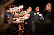 Gary Anderson walks to the stage for his match against Raymond van Barneveld in the Betway Premier League Darts at the Brighton Centre in Brighton, East Sussex. PRESS ASSOCIATION Photo. Picture date: Thursday 15th May, 2014. Photo credit should read: Chris Ison/PA Wire.