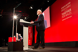 © Licensed to London News Pictures. 20/02/2016. Llandudno UK. Labour leader Jeremy Corbyn delivers his keynote Address at the Welsh Labour Party Conference 2016 in Llandudno, Wales. Photo credit: Andrew McCaren/LNP