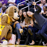 24 July 2014: Los Angeles Sparks mascott poses with court side fans  during the Phoenix Mercury 93-73 victory over the Los Angeles Sparks, at the Staples Center, Los Angeles, California, USA.