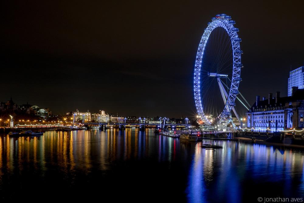 The London Eye viewed from Westminster Bridge, London.