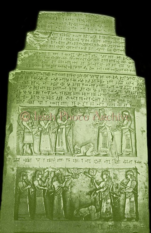 Jehu. Ancient king of Israel.  He was the son of Jehoshaphat and grandson of Nimshi. reign to 842-815 BC,  Shown paying homage to the King Salmanasser II from a relief on the obelisk of Salmanasser II. Jehu gets the status of a vassal and has to bow himself to king Salmanasser II on the 'Black Obelisk'' of Salmanasser II, erected in 825 BC .Salmanasser II was King of Assyria from 1031 BC to 1019 BC. He succeeded his father, Ashurnasirpal I