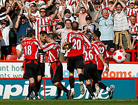 Photo: Paul Greenwood.<br />Sheffield United v West Ham United. The Barclays Premiership. 14/04/2007.<br />Sheffielld United celebrate Phil Jagielka's (2nd L) goal