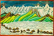 Yak caravan through Himalayan peaks, Traditional Nepalese painting, Nepal.